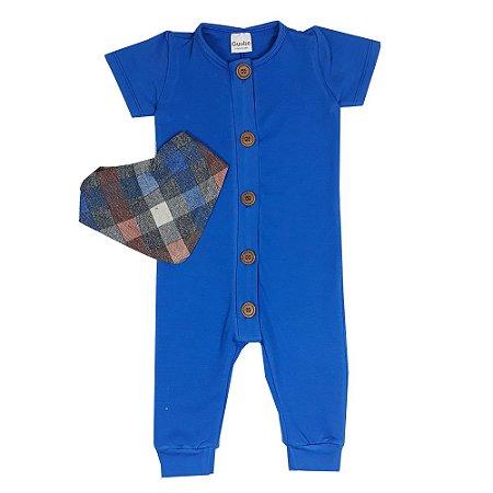 Macacão Bebê Azul + Bandana Xadrez