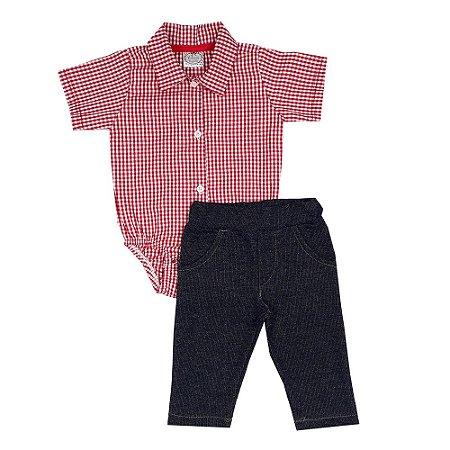 Conjunto Bebê Body Tecido Xadrez + Calça Jeans