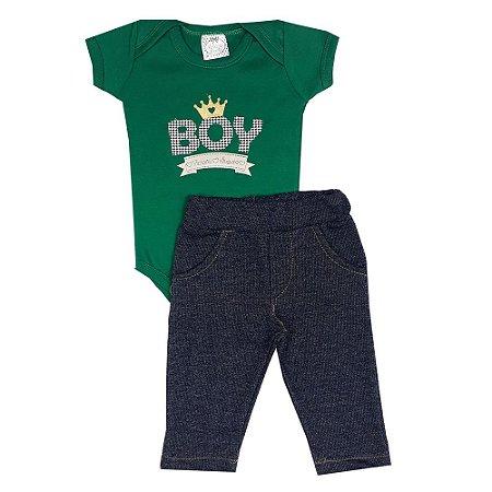 Conjunto Bebê Body Boy Verde + Calça Jeans