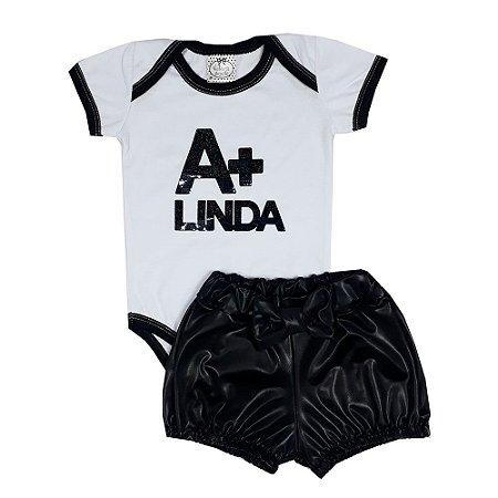 Conjunto Bebê Body A+ Linda + Shorts Preto