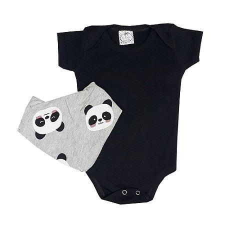 Body Bebê Preto + Bandana Panda