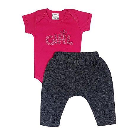 Conjunto Bebê Body Girl + Calça Saruel Jeans