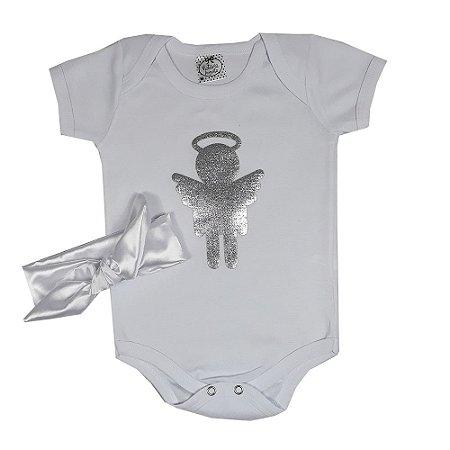 Body Bebê Anjinho + Turbante
