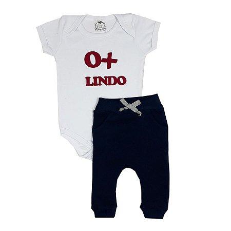 Conjunto Bebê Body O+ Lindo + Saruel Azul Marinho