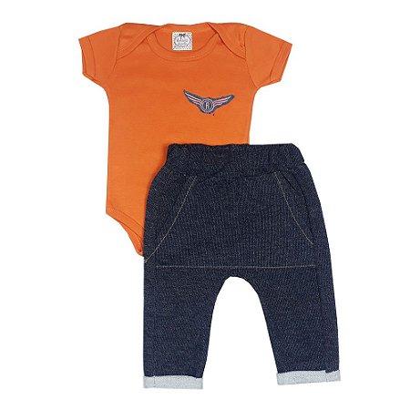 Conjunto Bebê Força Aérea Laranja