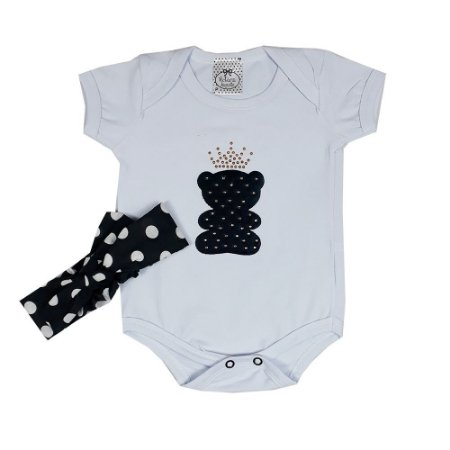 Body Bebê Urso Branco + Turbante Bola