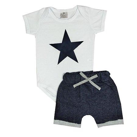 Conjunto Bebê Body Estrela + Bermuda Saruel Jeans