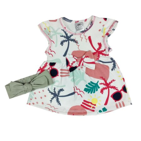 Vestido Bebê Tropical + Turbante