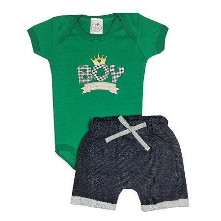 Conjunto Bebê Boy Verde + Bermuda Saruel Jeans