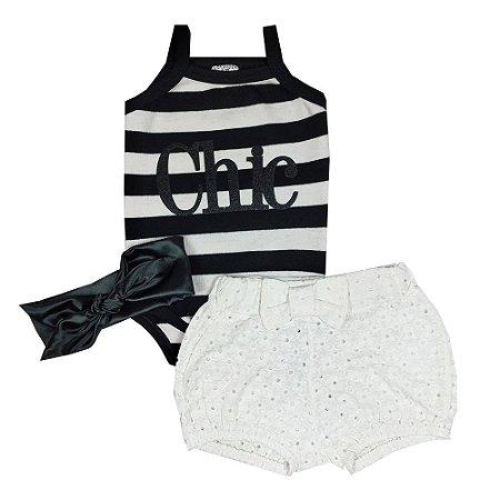 Conjunto Bebê Body Chic + Shorts Lesie + Turbante