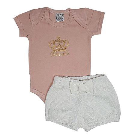 Conjunto Bebê Body Princess + Shorts Lesie