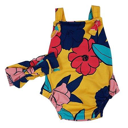 Jardineira Bebê Modelo Jumper Floral Com Turbante