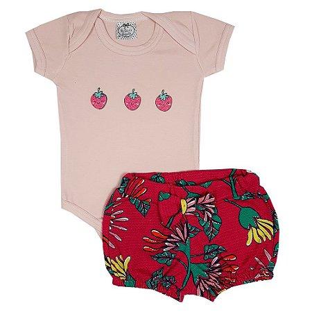 Conjunto Bebê Body Morango + Shorts Flores