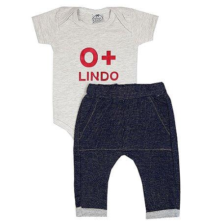Conjunto Bebê O+ Lindo Com Calça Saruel Jeans