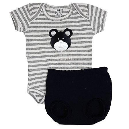 Conjunto Bebê Body Urso Listrado + Shorts Bola