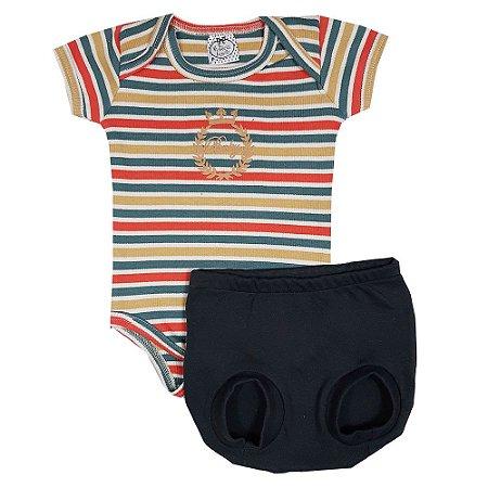 Conjunto Bebê Body Listras +Shorts Bola Chumbo