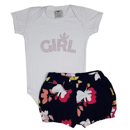 Conjunto Bebê Body Chic + Shorts Floral