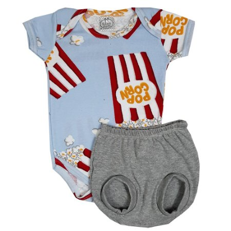 Conjunto Bebê Body Pipoca + Shorts Bola