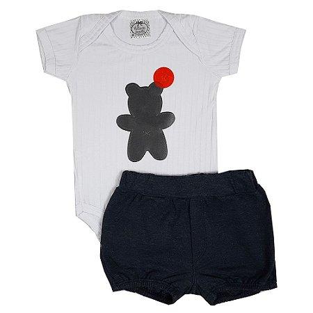 Conjunto Bebê Body Urso + Shorts Chumbo