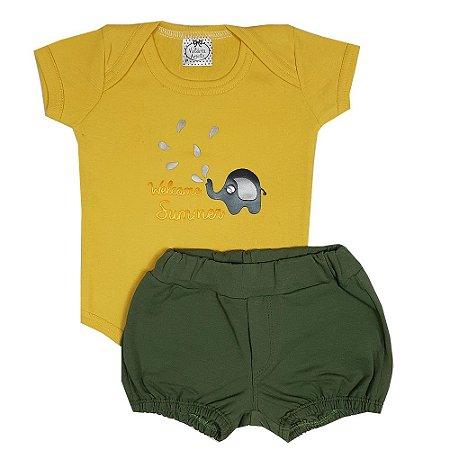Conjunto Bebê Body Elefante Amarelo + Shorts Verde