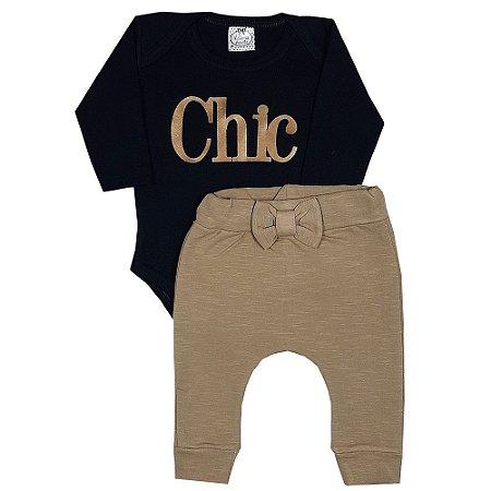 Conjunto Bebê Body Chic + Calça Saruel Marrom