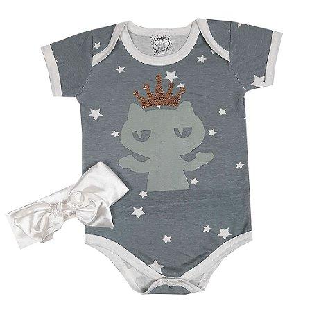 Body Bebê Gatinha Estrelada Com Turbante