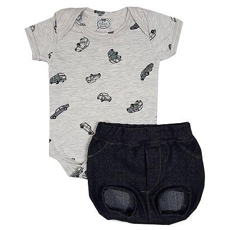 Conjunto Bebê Body Fusca + Tapa Fralda Jeans