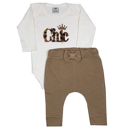 Conjunto Bebê Chic Onça + Calça Saruel Marrom