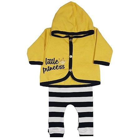 Conjunto Bebê Casaco Little Princess Amarelo + Calça Listrada