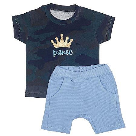 Conjunto Bebê Camiseta Prince + Bermuda Saruel