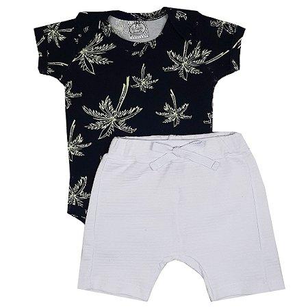 Conjunto Bebê Body Palmeiras + Shorts Branco