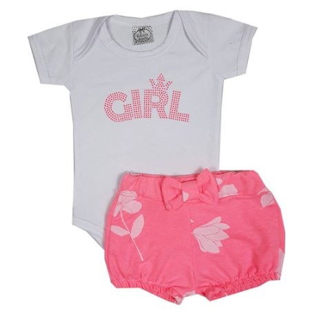 Conjunto Bebê Body Girl Branco + Shorts FLores