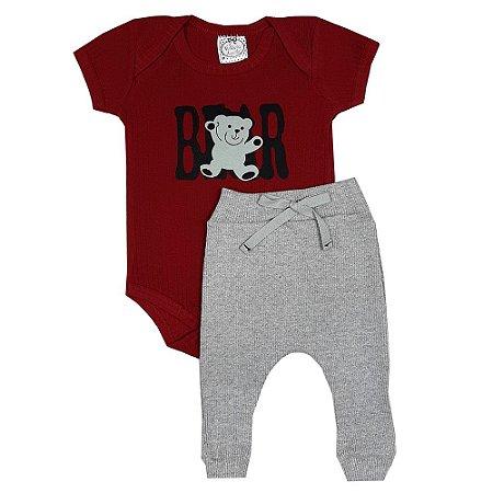 Conjunto Bebê Bear Vermelho + Calça Ribana
