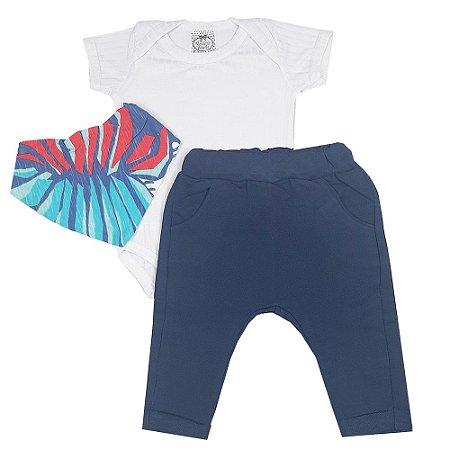 Conjunto Bebê Body Branco + Calça Saruel Azul + Bandana