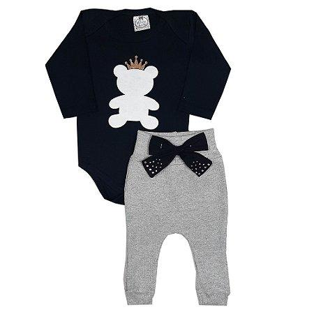 Conjunto Bebê Body Urso + Calça Culote Cinza