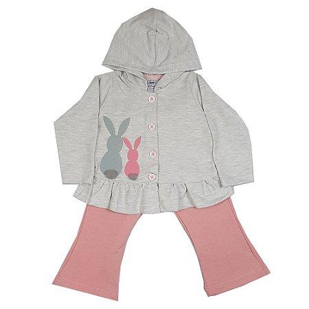 Conjunto Infantil Casaco Com Capuz + Calça Flare