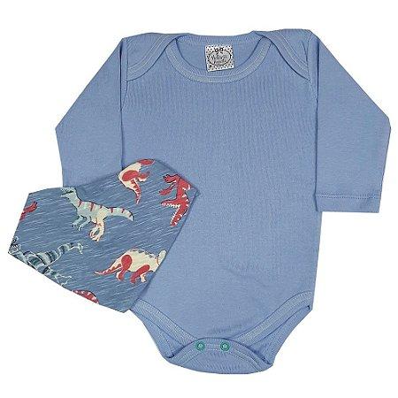 Body Bebê Azul + Bandana