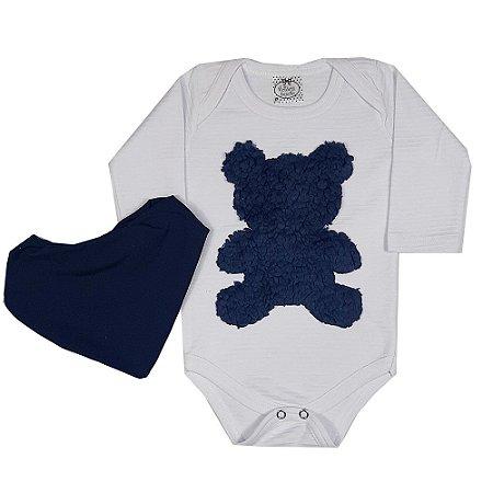 Body Bebê Urso Azul Com Bandana