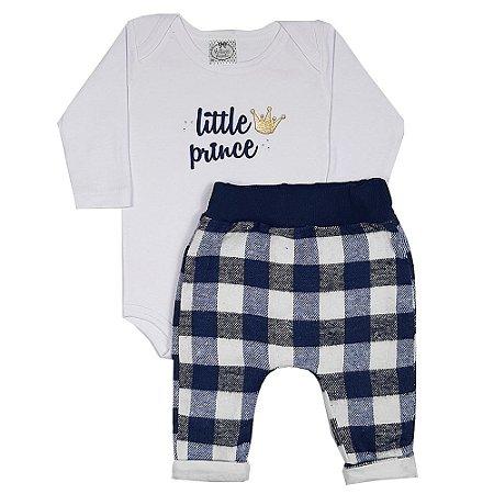 Conjunto Bebê Body Little Prince + Calça Saruel Xadrez