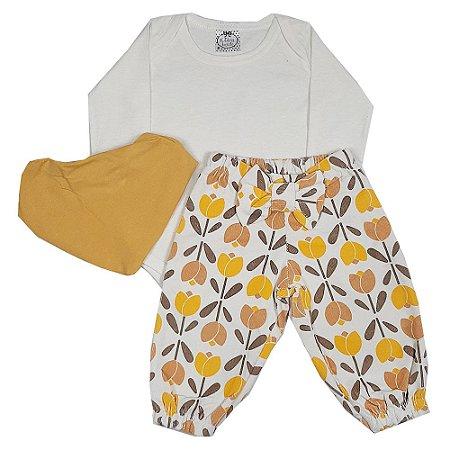 Conjunto Bebê Flores Amarelo