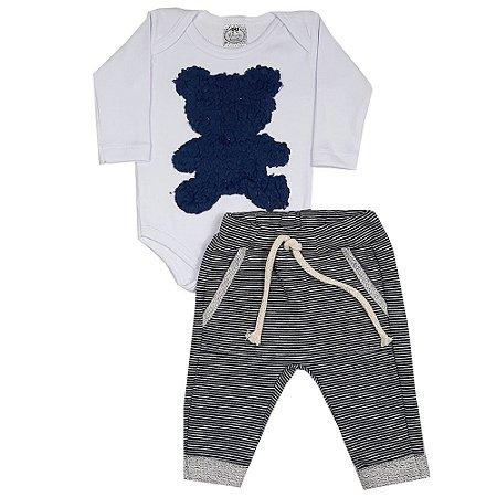 Conjunto Bebê Body Urso + Calça Saruel Listrada