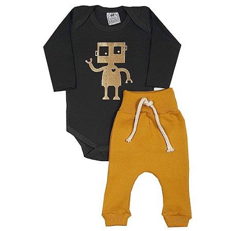 Conjunto Bebê Body Robô + Calça Amarela