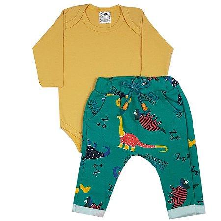 Conjunto Bebê Body Amarelo + Calça Saruel Dinossauros