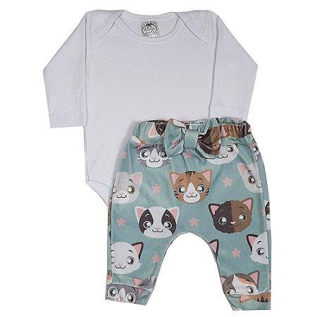 Conjunto Bebê Body Branco + Calça Gatinha