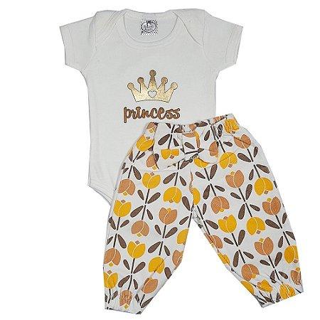 Conjunto Bebê Princess Com Calça De Veludo