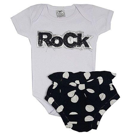 Conjunto Bebê Body Rock + Calcinha Bola