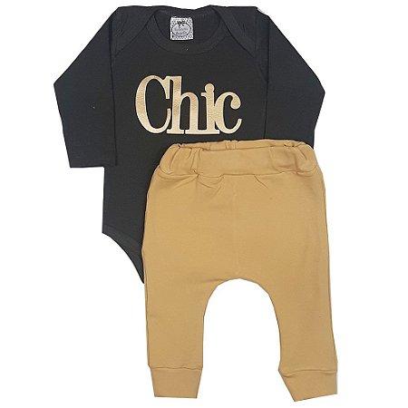 Conjunto Bebê Body Chic + Calça Saruel Amarela