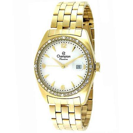 eb0355e36bb Relógio Feminino Champion Passion Dourado com Pedras - CN29981H