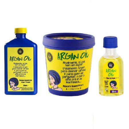 Lola Kit Argan Oil Shampoo 250ml Máscara 230g Óleo 50ml