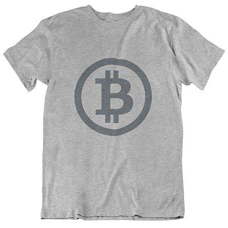Camiseta Bitcoin Minimalista - Cinza Mescla